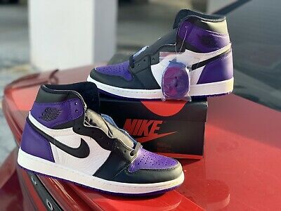 308d0745a23 Nike Men's Air Jordan 1 Retro High OG Court Purple Size 10.5 555088-501  Limited