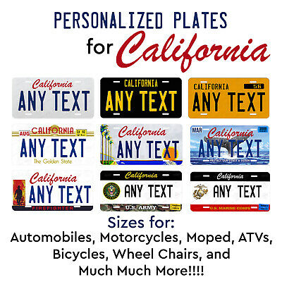 Personalized Custom License Plate Tag for California Auto Car Bicycle ATV Bike