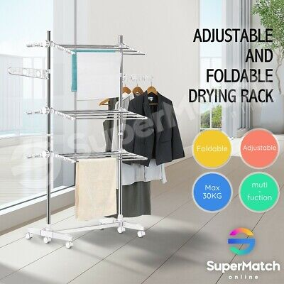 6 Tier Clothes Airer Portable Garment Laundry Drying Rack Foldable Rolling Stand