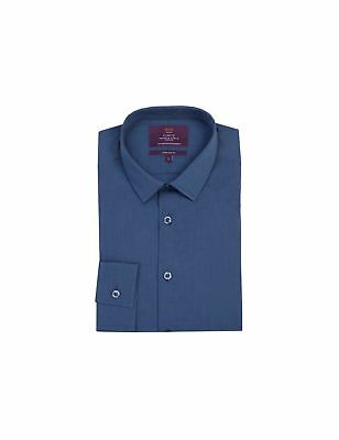 Hawes & Curtis Mens Navy Extra Slim Fit Shirt - One Button Collar - Single Cuff