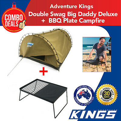 Double Swag Big Daddy Deluxe + BBQ Plate Campfire Adventure Kings