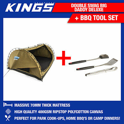 Double Swag Big Daddy Deluxe + Adventure Kings BBQ Tool Set Camping Outdoor 4WD