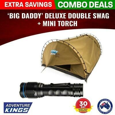 Adventure Kings 'Big Daddy' Deluxe Double Swag + MINI Torch Camping SUV 4x4