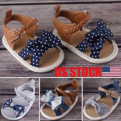 75fd9ff0 USA Infant Child Summer Sandals Newborn Baby Girl Bowknot Crib Shoes Size  3-18 M