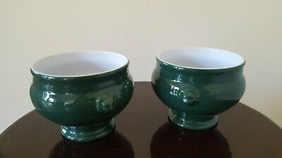 Pair of Emile Henry Green Lion Head Soup Bowls