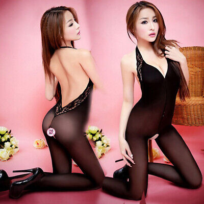 Women Sexy Stockings Halter Backless Lace Bodystocking Black Lingerie Gifts