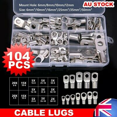 104×TINNED 4WD Copper Lug Cable Lugs Crimper Connector Kits Battery Terminal AU