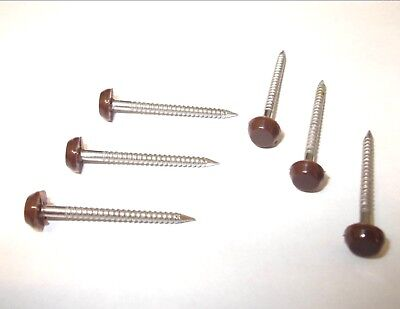 Brown UPVC Polytop pins. Plastic head. Facia board. Cladding. *Top Quality