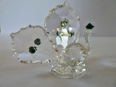 CLEAR GLASS PEACOCK BIRD ORNAMENT with TURQOISE HEAD