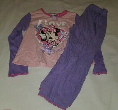 Gorgous purple pink minnie mouse DISNEY top trousers pyjama set Age 4 5 Years