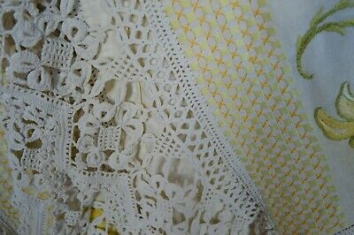 Vintage Table cloth, rare design embroidered with deep ecru crochet edging