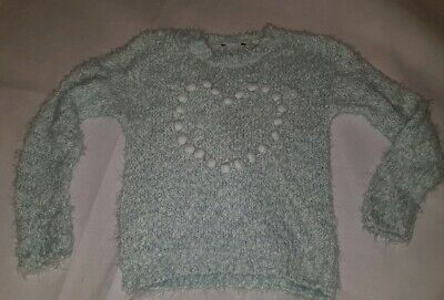 Gorgous green chunky fluffy GEORGE jumper top age 6 7 Years