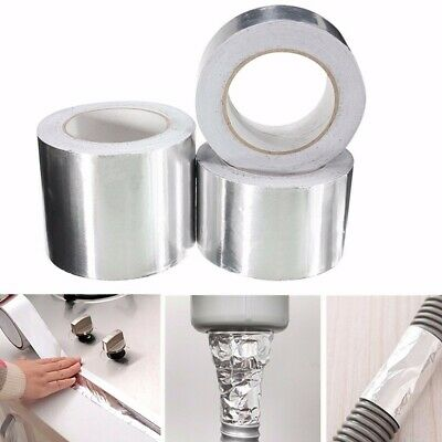 45m x 100mm Aluminium Foil Tape Silver Reflective Duct Self Adhesive Roll Tape