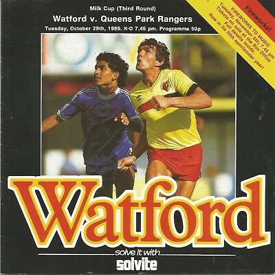Football Programme - Watford v QPR - League Cup - 29/10/1985