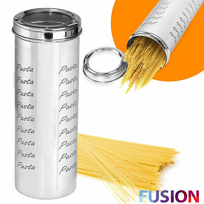 Stainless Steel Spaghetti Pasta Storage Container Tin 29cm Canister Dry Food