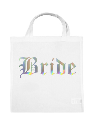 Team BRIDE Groom Tote Wedding Bags Tribe Squad Hen Party Night Gift Bag SILVER