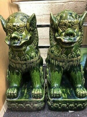 Pare Pair of chinese green agate jade stone hand carved foo dogs figurines #209