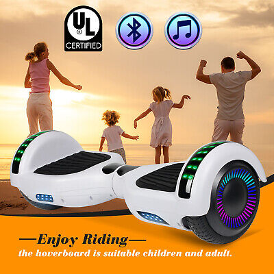 "6.5"" Bluetooth Hoverboard Electric Self Balancing Scooter UL2272 LED Light White"