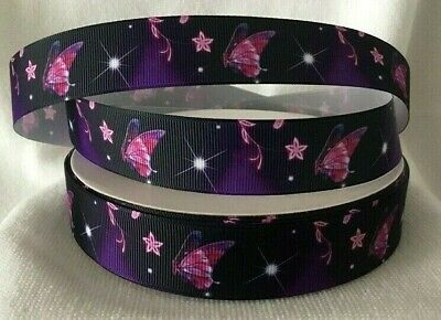 """Butterfly Grosgrain Ribbon Sold by 2M size is 1"""" wide - Craft- Hair etc"""