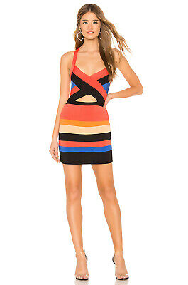 61f644034d33 BNWT Revolve NBD X Naven Twins Robyn Bodycon Stripe Cut Out Bandage Dress M