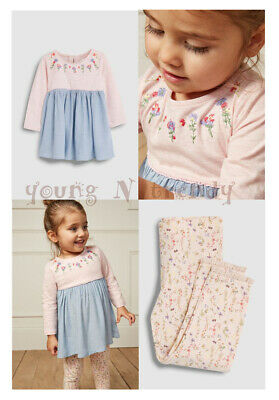 BNWT NEXT 12-18-24 m girl 2-3-4-5 years PINK TUNIC/DRESS/TOP*FLORAL LEGGINGS SET