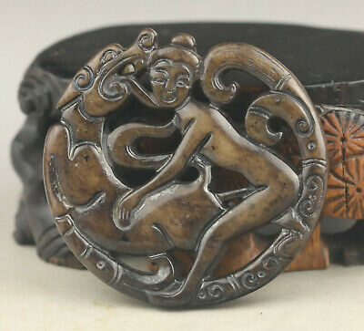 Chinese old natural jade hand-carved woman and beast pendant