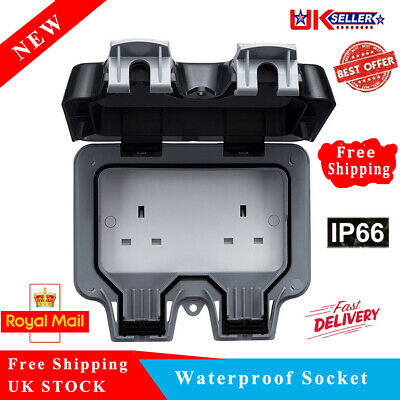Waterproof Outdoor 13A 2Gang Storm Switched Socket Double IP66 Outside Use 2019