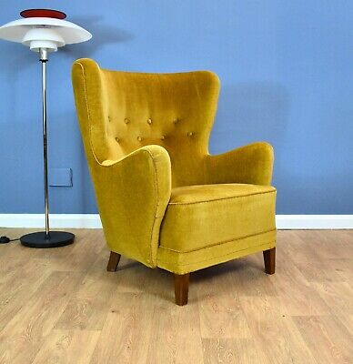 Mid Century Art Deco Vintage Danish Yellow Velour Club Lounge Arm Chair 1940s