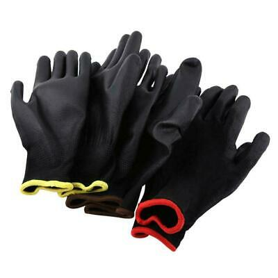 12/24 Pairs Nylon Pu Coated Safety Work Gloves Garden Grip Builders S M L