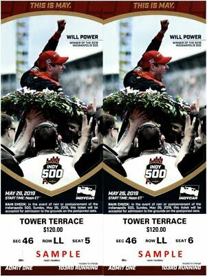 (2) Indy 500 tickets  Tower Terrace behind the Pits  Indianapolis 500