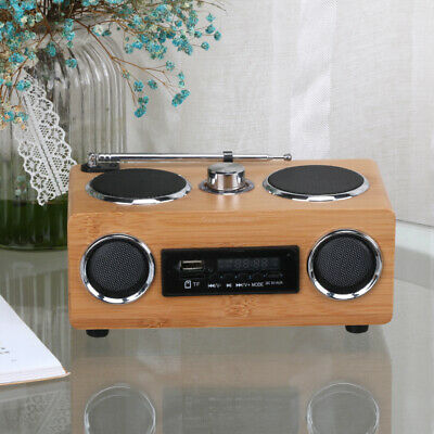 Retro Bamboo Radio FM Stereo,USB,SD,MP3/4, Bluetooth Speakers,UK Seller