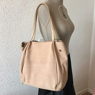 d40a4c9dbf6 Zara New Leather Tote Sand Nude Beige Shopper Large Suede Bag Rare Sold Out