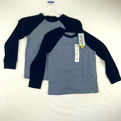 Cat and Jack Two Pack Toddler Boys Size 5T Raglan Sleeve Tee Shirts Blue Heather
