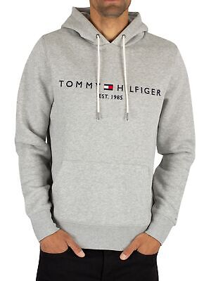 Tommy hilfiger Sweat à capuche long à logo Gris Clair