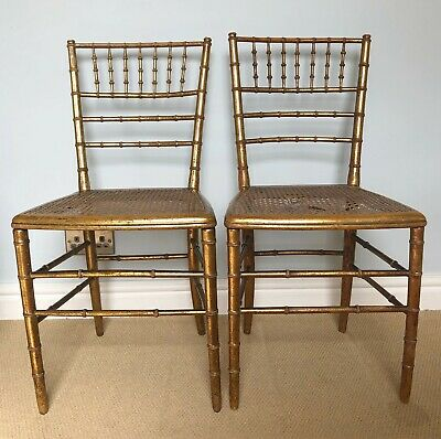 Antique Regency Gilt Faux Bamboo Cane Seat Chairs. Matched Pair. Original Finish