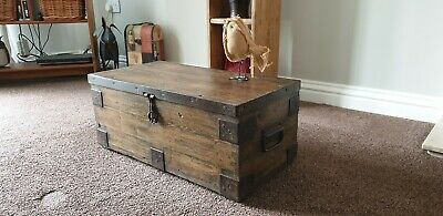 Vintage  rustic tool CHEST/ black COFFEE TABLE  BOX /country/farmhouse
