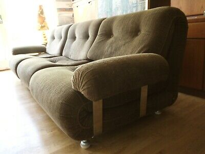 70s modular 3 seater unit sofa with arms. Arm chair. Vintage retro