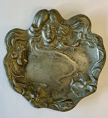 Vintage Pewter Art Nouveau Nymph Trinket Pin Dish Card Tray Ashtray Bowl
