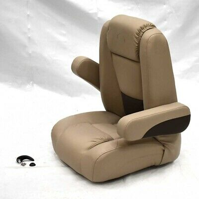 Two Tone Brown Reclining Captains Helm Boat Seat