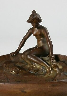 Austrian Vienna Bronze Tray - Art Nouveau 'Nude and Waves' - Signed - Circa 1900
