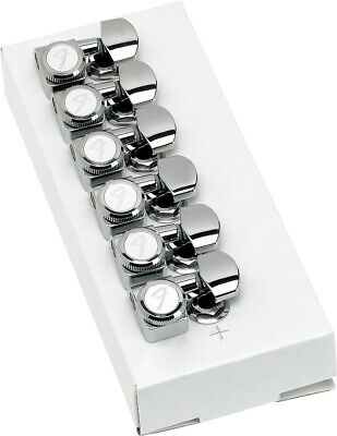 Genuine Fender 099-0818-100 6 inline Strat Tele 2 pin chrome locking tuners NEW