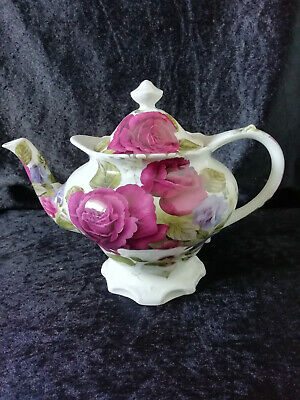 Sadler Roses Footed Teapot Made For Victoria's Secret English Earthenware China