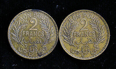 Lot of 2 Tunisia 1941 AH1360 2 Francs high grade XF/XF+ coins