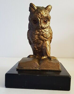 OLD WISE OWL FIGURE / PAPERWEIGHT gilt spelter with glass eyes.