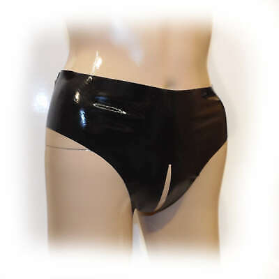 Latex Female String ouvert Schwarz extra heiß - 0,3 mm  Size M (1616)