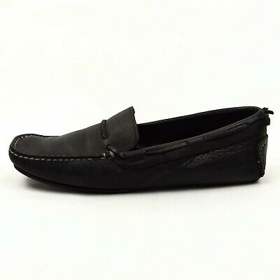 9a52e6f87e4e8 J.Crew Black Leather Driving Moccasin Mens Size 7 Slip on Flat Loafer Shoes