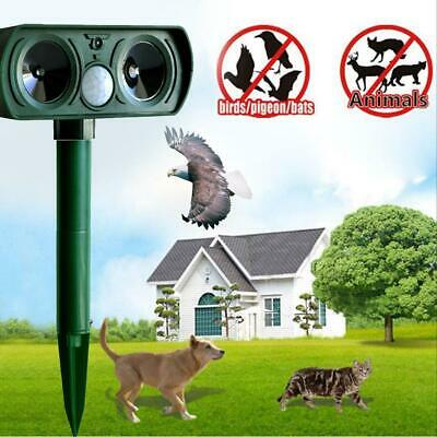 Ultrasonic Solar Animal Repeller Garden Bird Pest Mouse Rat Cat Dog Fox Scarer