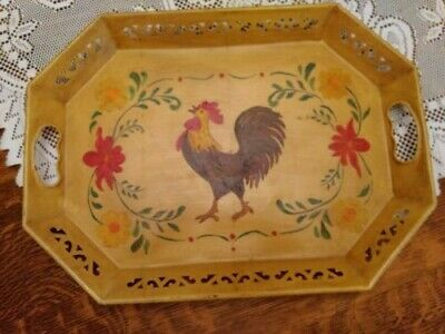 Vintage Beautiful Hand Painted Metal Tray, Rooster, Flowers. Collectible Art
