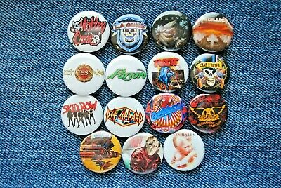 "Hair Metal Rock Band Buttons Pins 80s  Music 1"" Badge Ratt Motley Crue pinback"