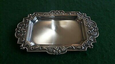 Vintage Silver Plated Card Tray Marked Alpaca, Rococo Style.